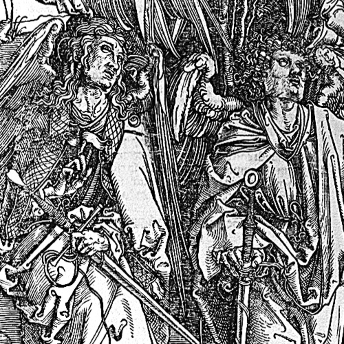 "Here we show a portion of 'Four Angels Staying the Winds and Signing the Chosen' - the sixth Woodcut from the suite by Albrecht Durer known as ""The Apocalypse""."