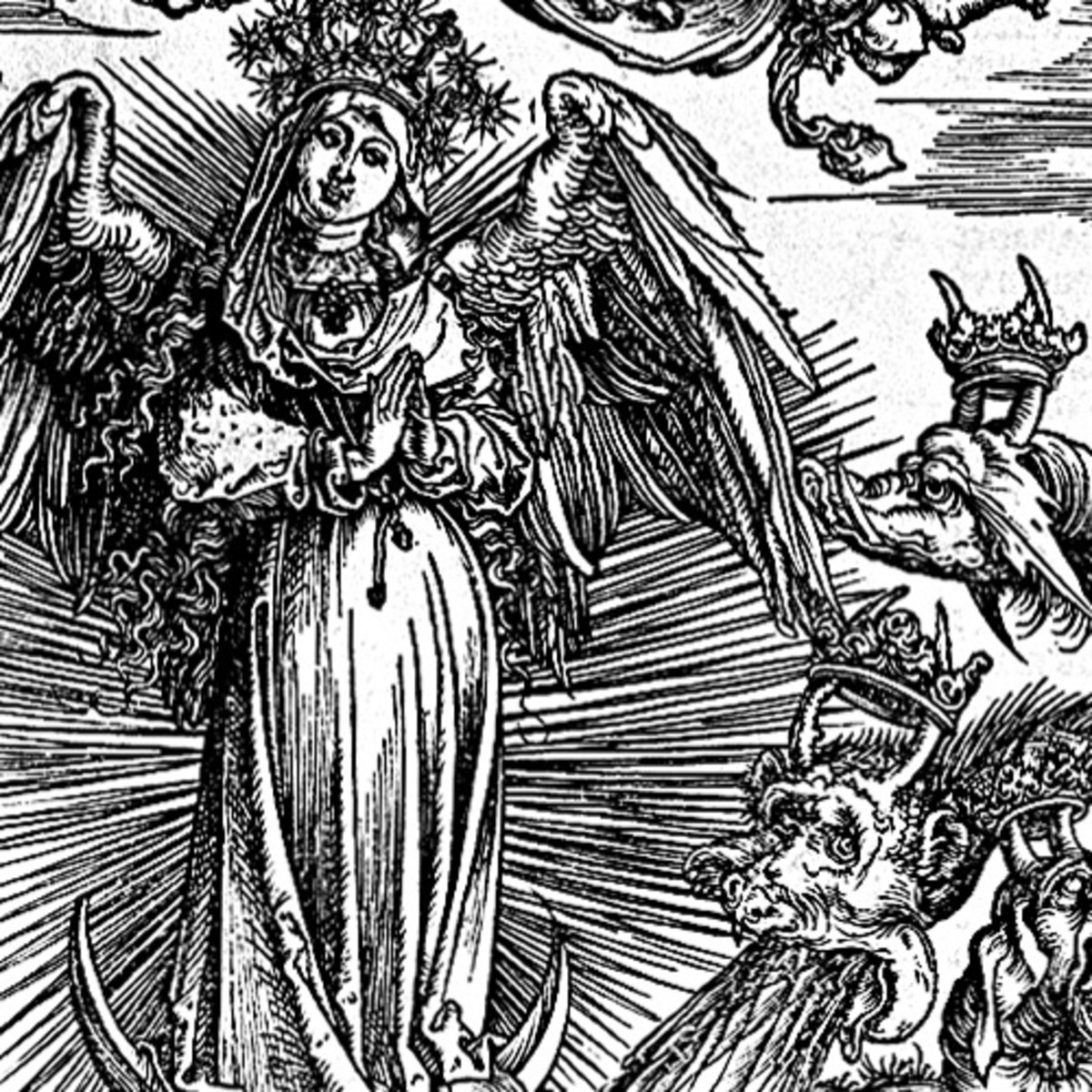 "Here we show a portion of 'The Woman Clothed with the Sun and the Seven-headed Dragon' - the eleventh Woodcut from the suite by Albrecht Durer known as ""The Apocalypse""."