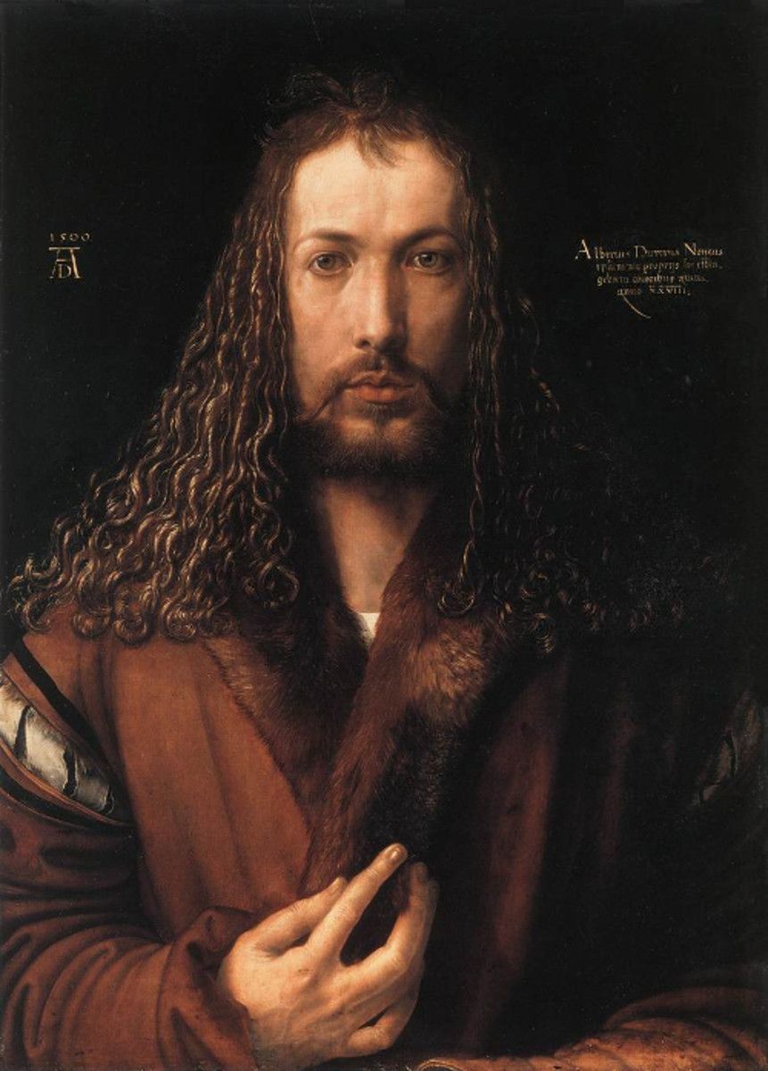 "Here we show the self-portrait produced by Albrecht Durer at the age of 28 (two years following publication of ""The Apocalypse"")."