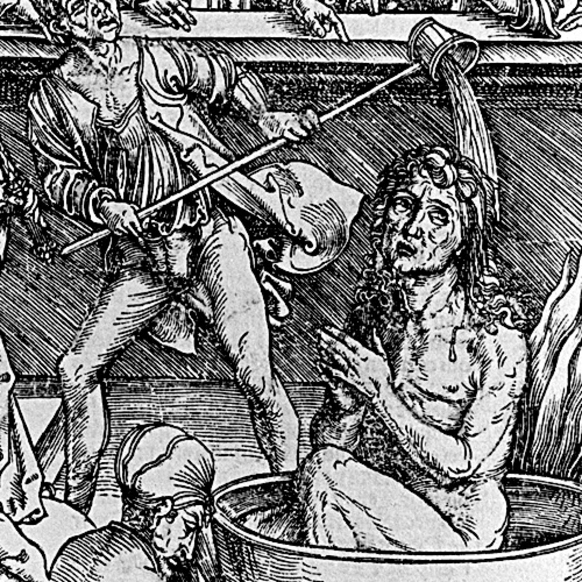 """Here we show a portion of 'The Martyrdom of St John the Evangelist' - the first Woodcut from the suite by Albrecht Durer known as """"The Apocalypse""""."""