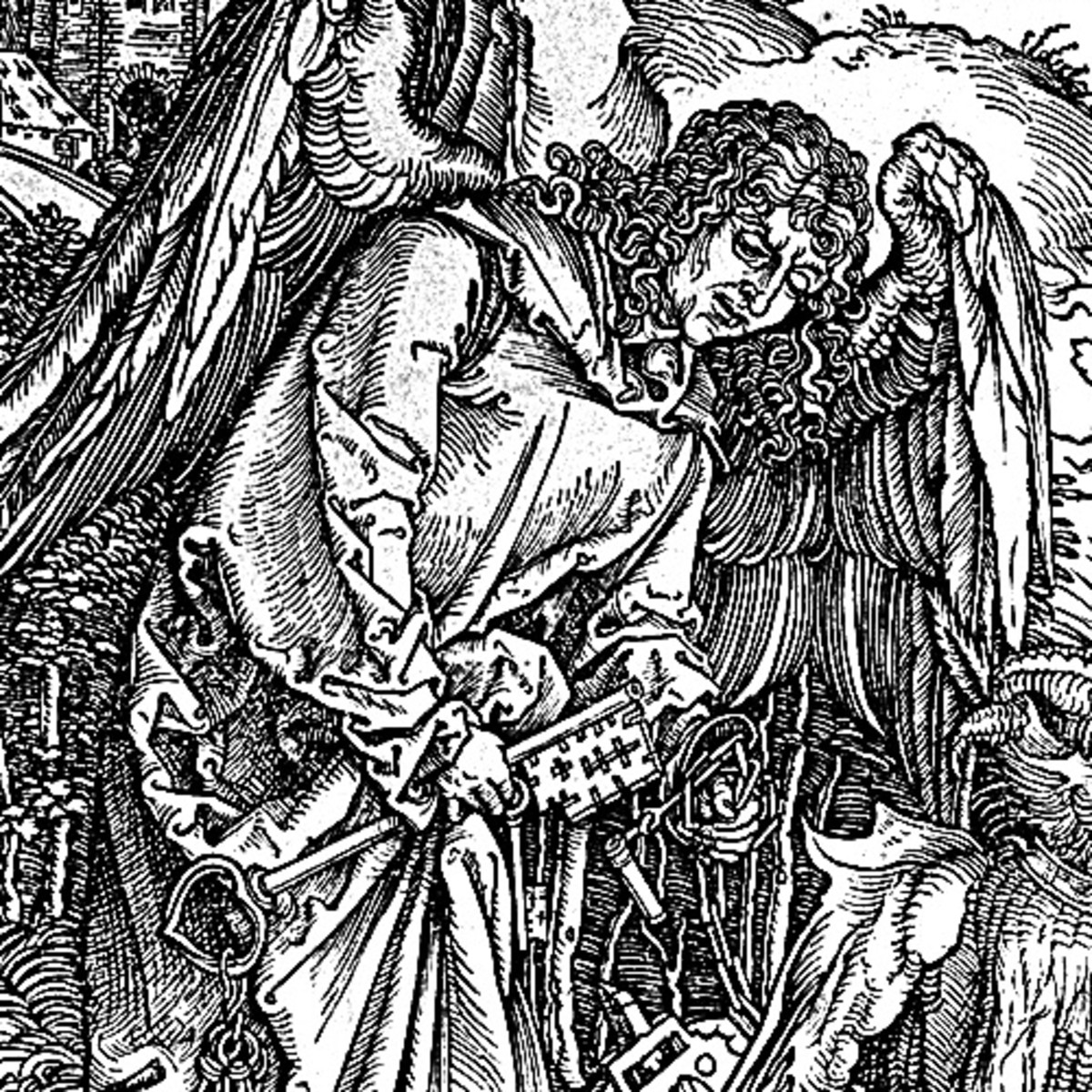 "Here we show a portion of 'The Angel with the Key to the Bottomless Pit' - the fifteenth Woodcut from the suite by Albrecht Durer known as ""The Apocalypse""."