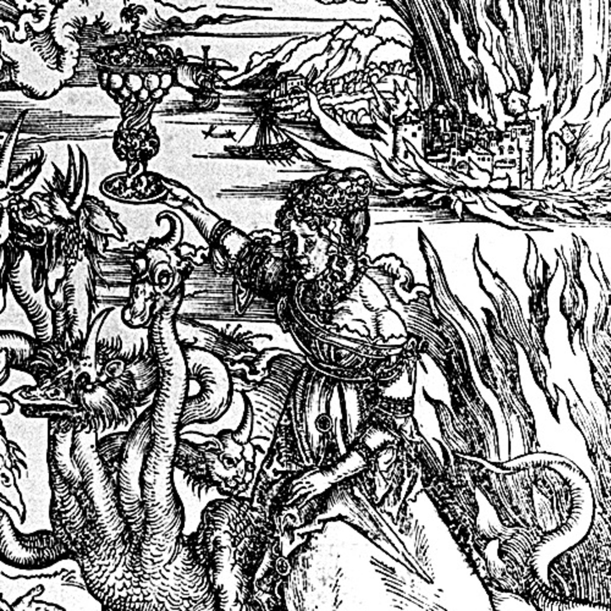 "Here we show a portion of 'The Whore of Babylon' - the fourteenth Woodcut from the suite by Albrecht Durer known as ""The Apocalypse""."