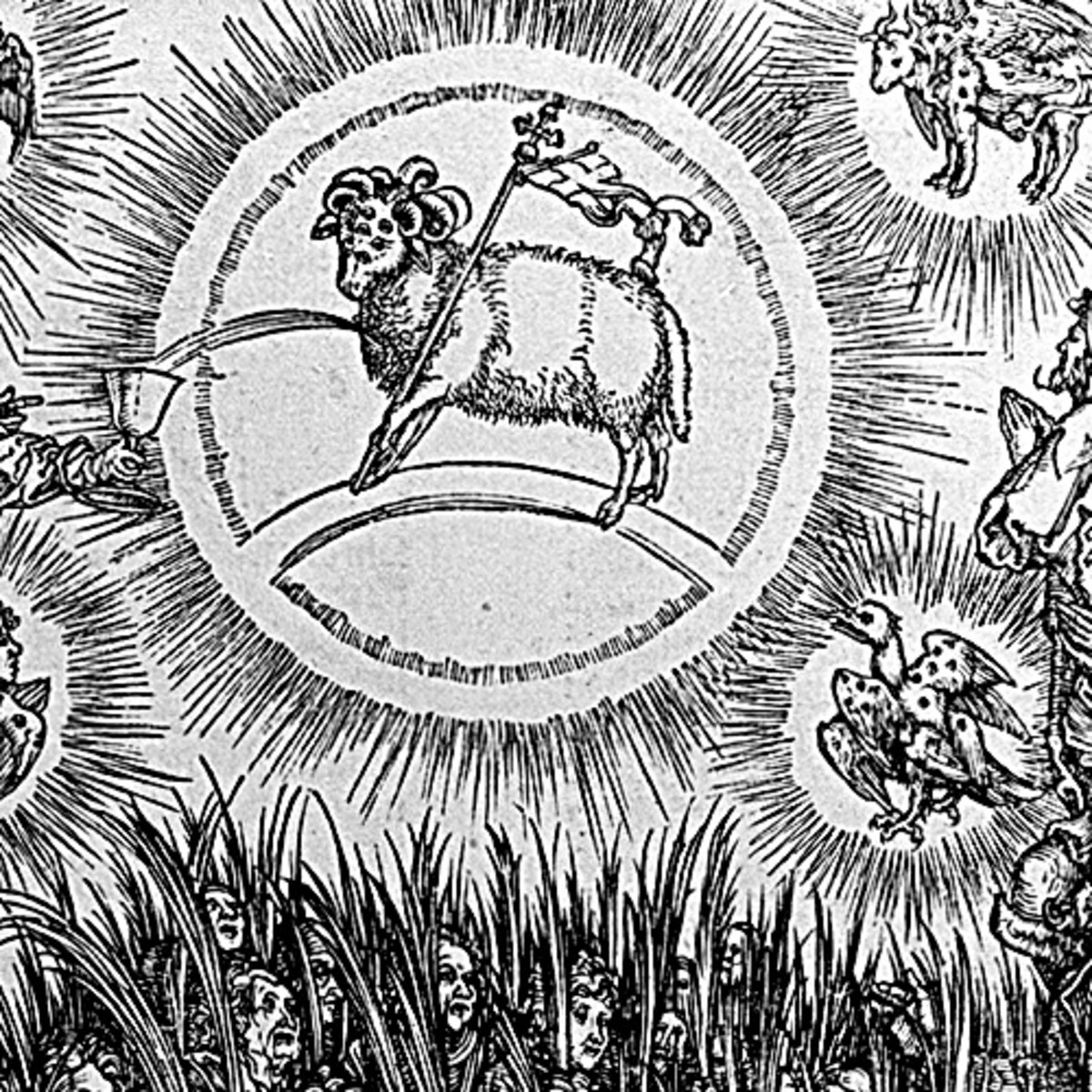 """Here we show a portion of 'The Adoration of the Lamb and the Hymn of the Chosen' - the seventh Woodcut from the suite by Albrecht Durer known as """"The Apocalypse""""."""