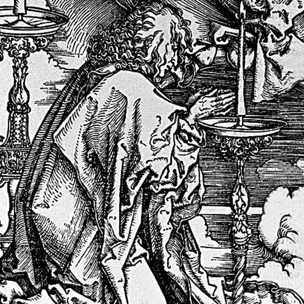 """Here we show another portion of """"St John's Vision of Christ and the Seven Candlesticks"""" by Albrecht Durer - this this image, we see St John kneeling in veneration before Christ."""