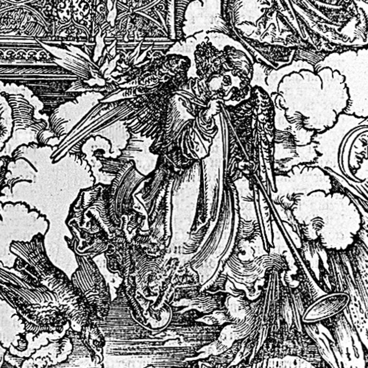 "Here we show a portion of 'The Seven Trumpets are Given to the Angels' - the eighth Woodcut from the suite by Albrecht Durer known as ""The Apocalypse""."