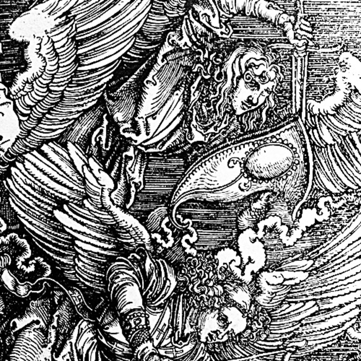 "Here we show another portion of ""St Michael Fighting the Dragon"" by Albrecht Durer."