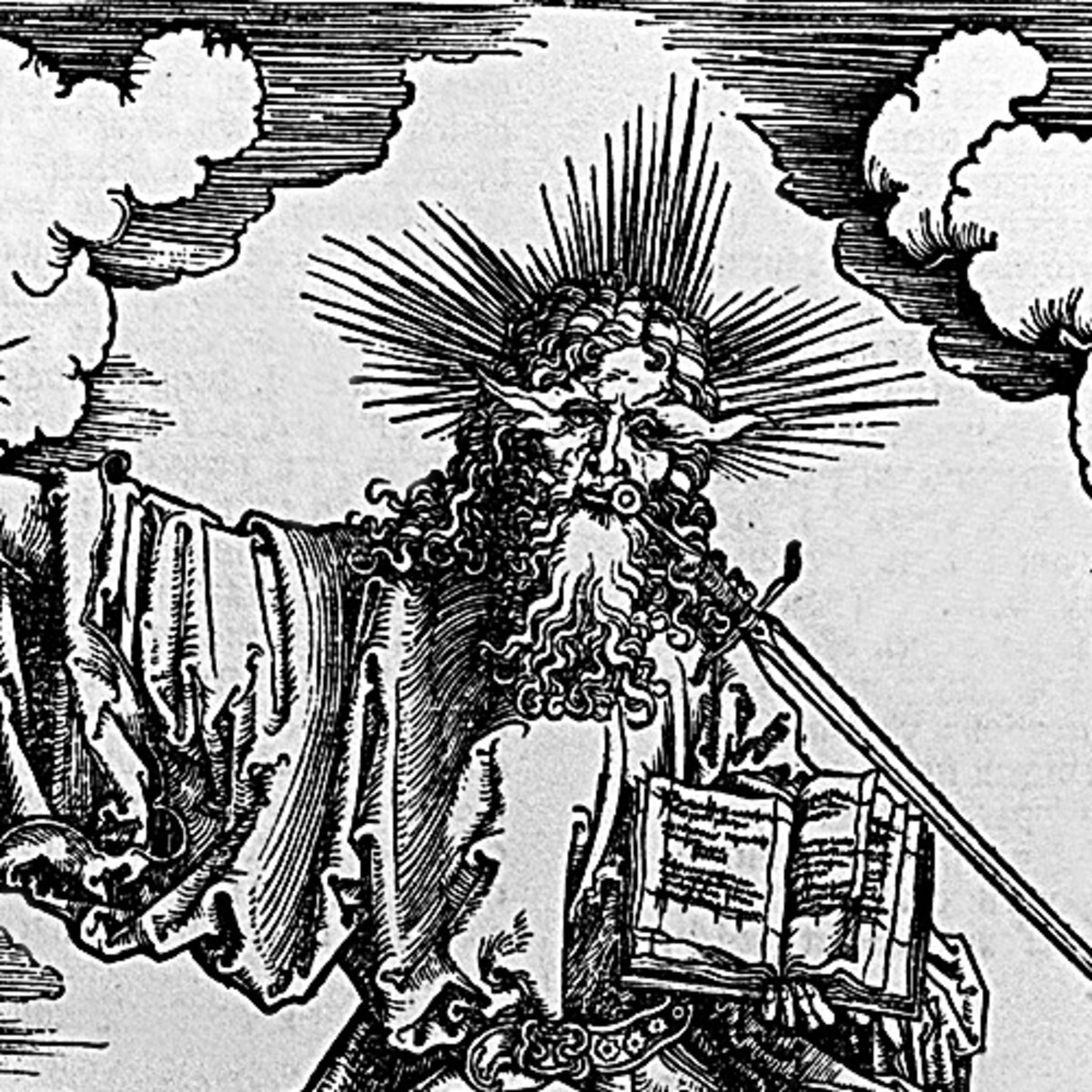 "Here we show a portion of 'St John's Vision of Christ and the Seven Candlestickst' - the second Woodcut from the suite by Albrecht Durer known as ""The Apocalypse""."