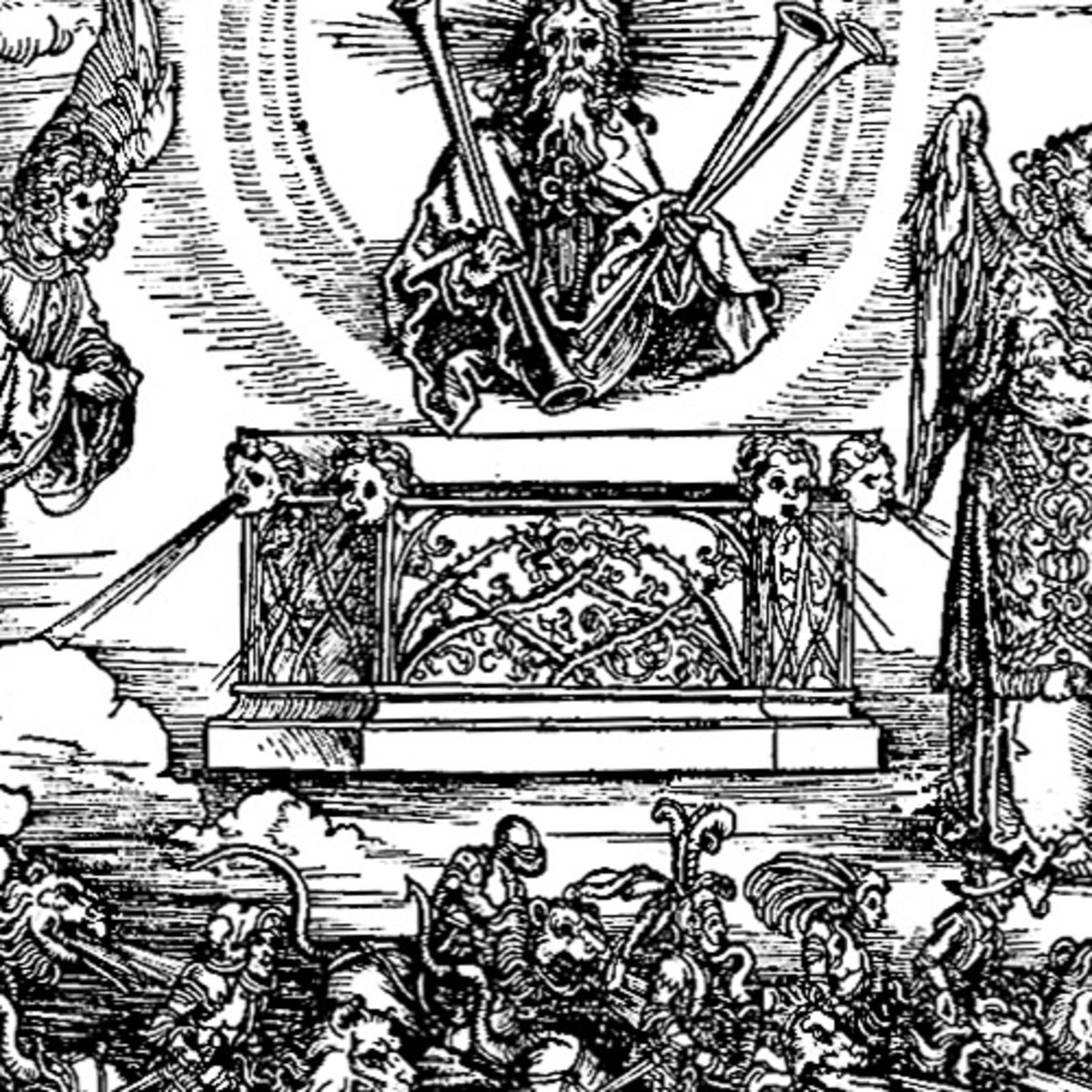"""Here we show another portion of """"The Battle of the Angels"""" by Albrecht Durer."""