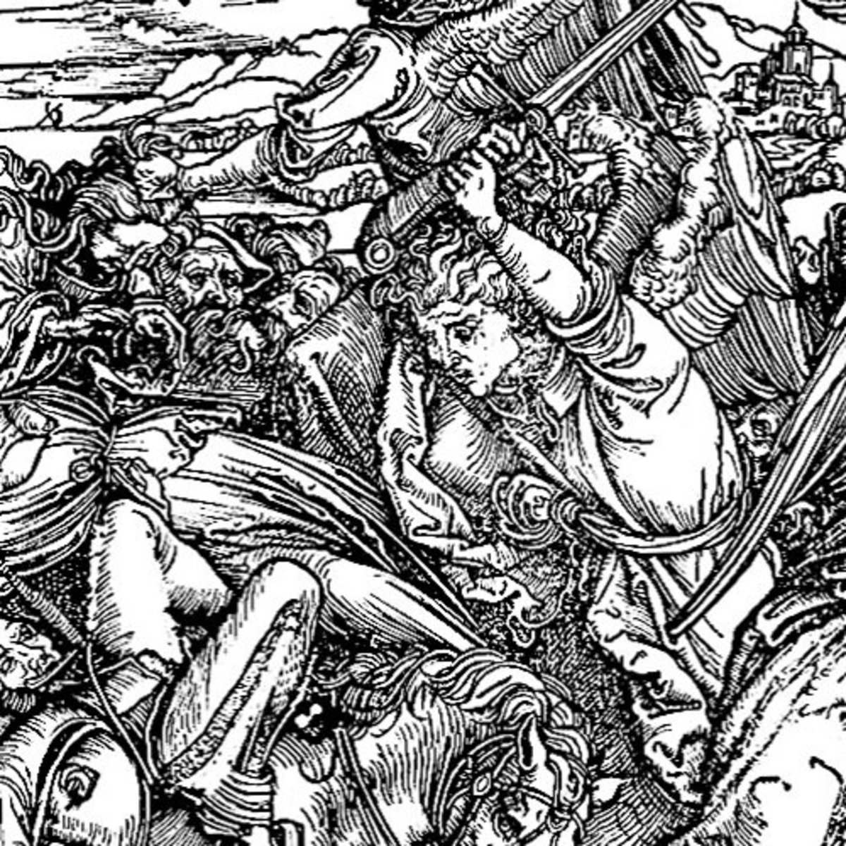 "Here we show a portion of 'The Battle of the Angels' - the ninth Woodcut from the suite by Albrecht Durer known as ""The Apocalypse""."