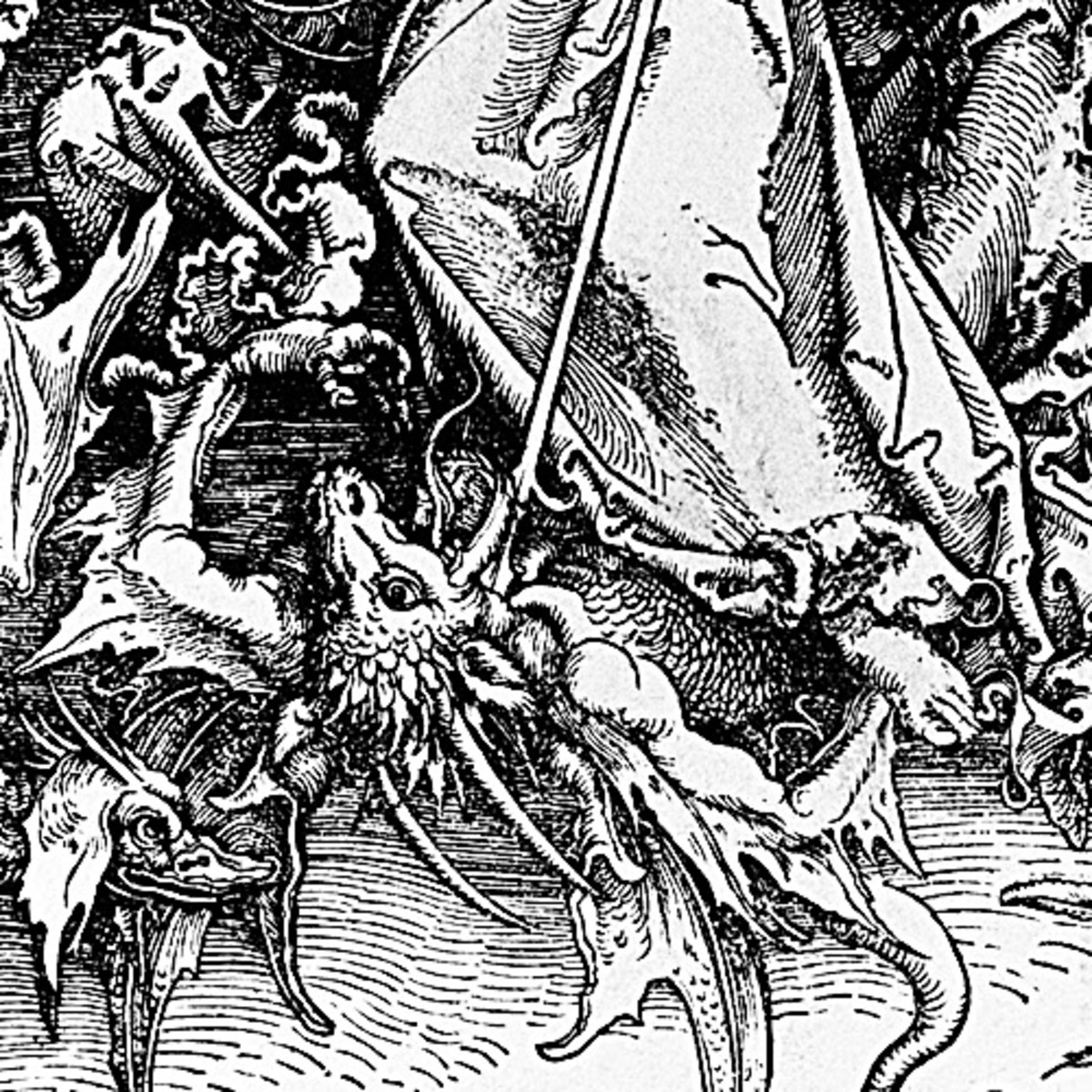 """Here we show a portion of 'St Michael Fighting the Dragon' - the twelfth Woodcut from the suite by Albrecht Durer known as """"The Apocalypse""""."""