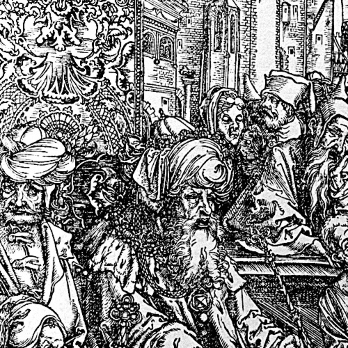 "Here we show another portion of ""The Martyrdom of St John"" by Albrecht Durer. In this this image, we see the Emperor Domition and members of his Court (to the middle and left) and some medieval Gothic architectural features (in the background)."