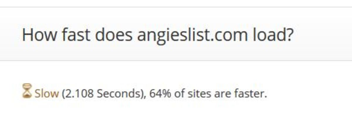 Angie's List website loads 64% slower as reported by Alexa