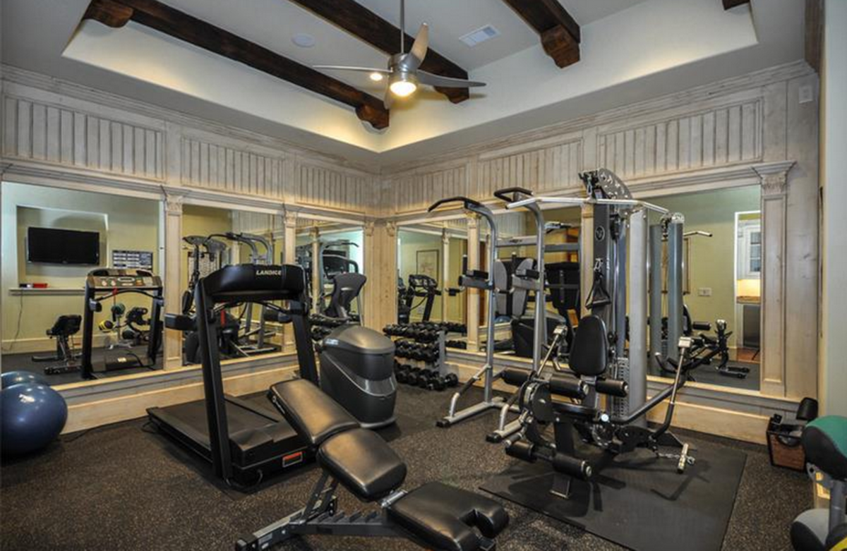 Wood Beams in Fitness Room