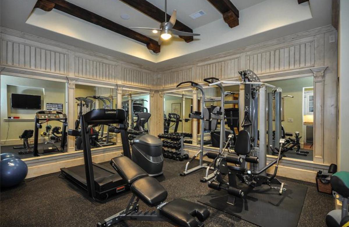 Wood Beams in Fitness Room