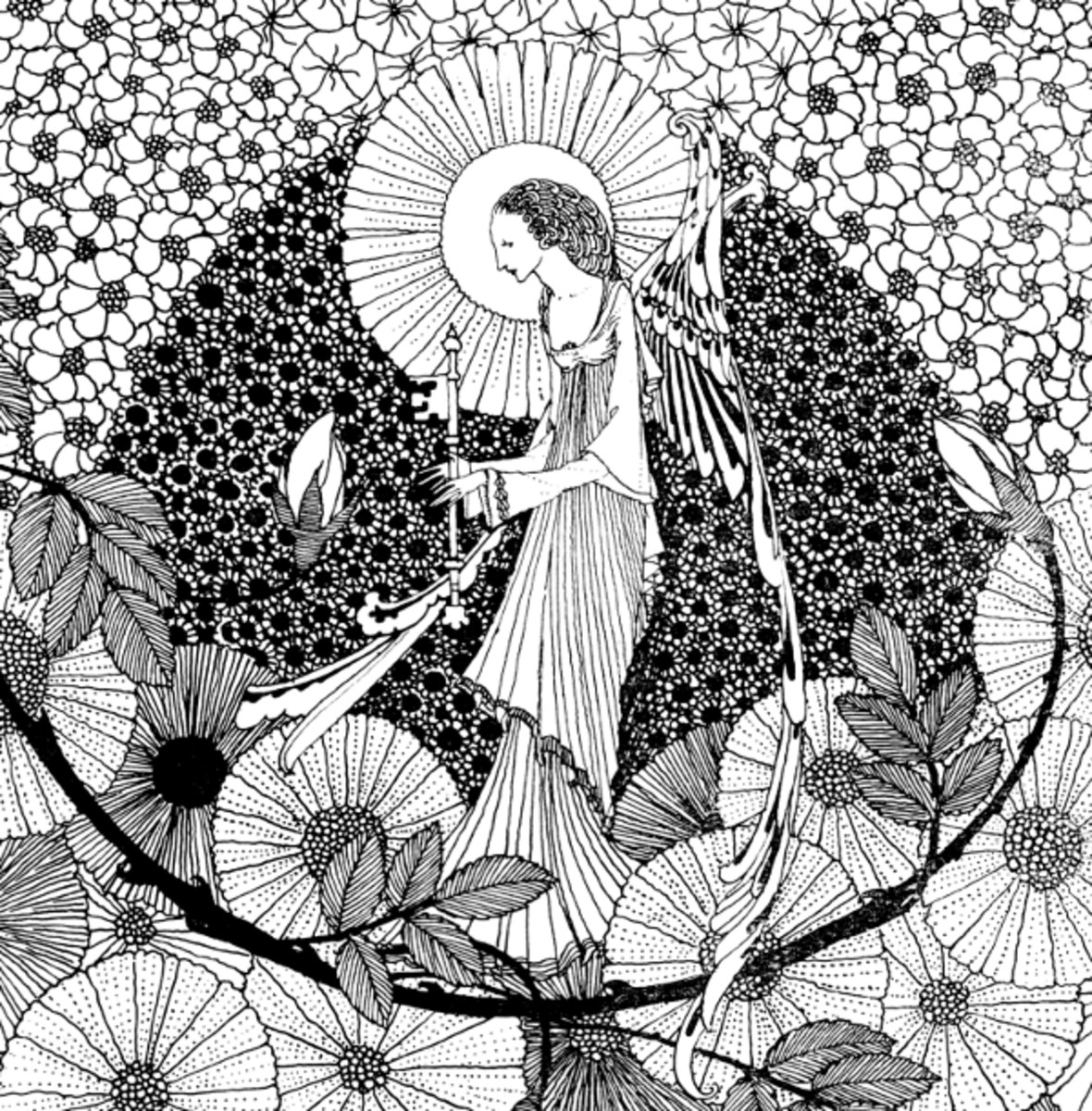"Here we show a portion of 'With magic key ... unlocking buds that keep the roses' - it is one of the monotone designs from Harry Clarke published in ""The Year's at the Spring"" (1920)."
