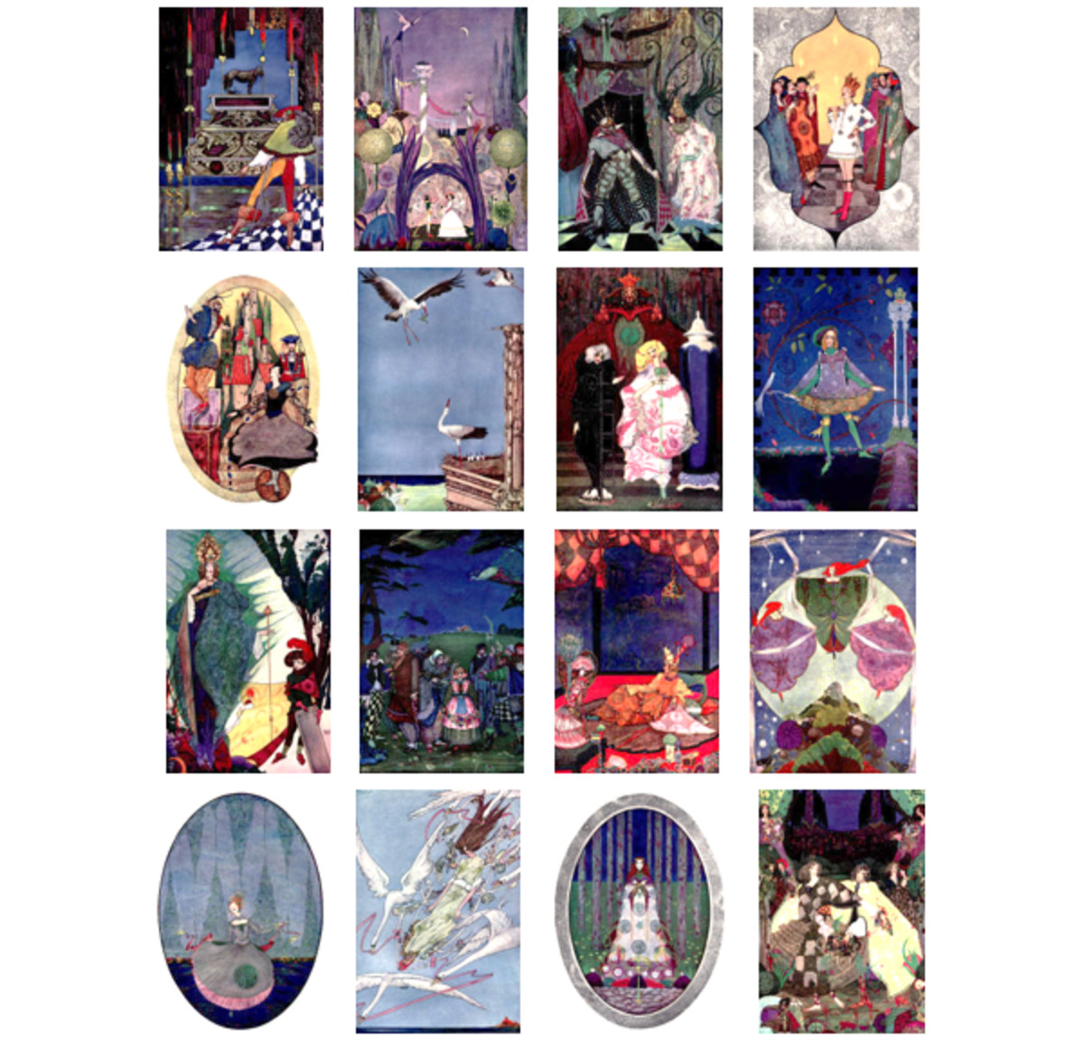 "Here we show each of the color designs by Harry Clarke published in ""Fairy Tales by Hans Christian Anderson"" (1916)."