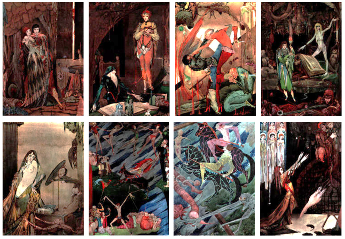 "Here we show each of the color designs by Harry Clarke published in ""Faust"" (1925)."