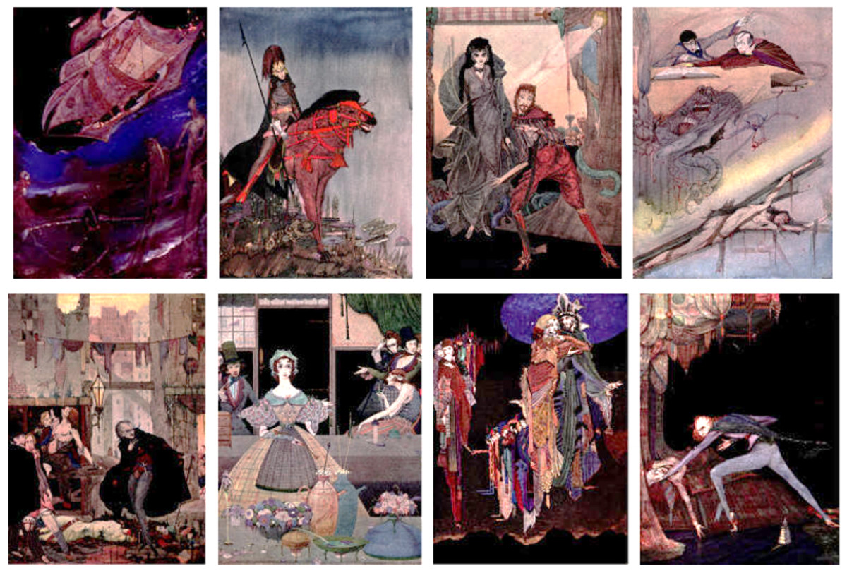 "Here we show each of the color designs by Harry Clarke published in ""Tales of Mystery and Imagination"" (1923)."