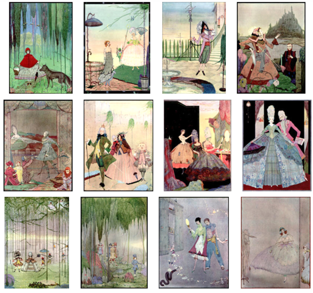 "Here we show each of the color designs by Harry Clarke published in ""The Fairy Tales of Charles Perrault"" (1922)."