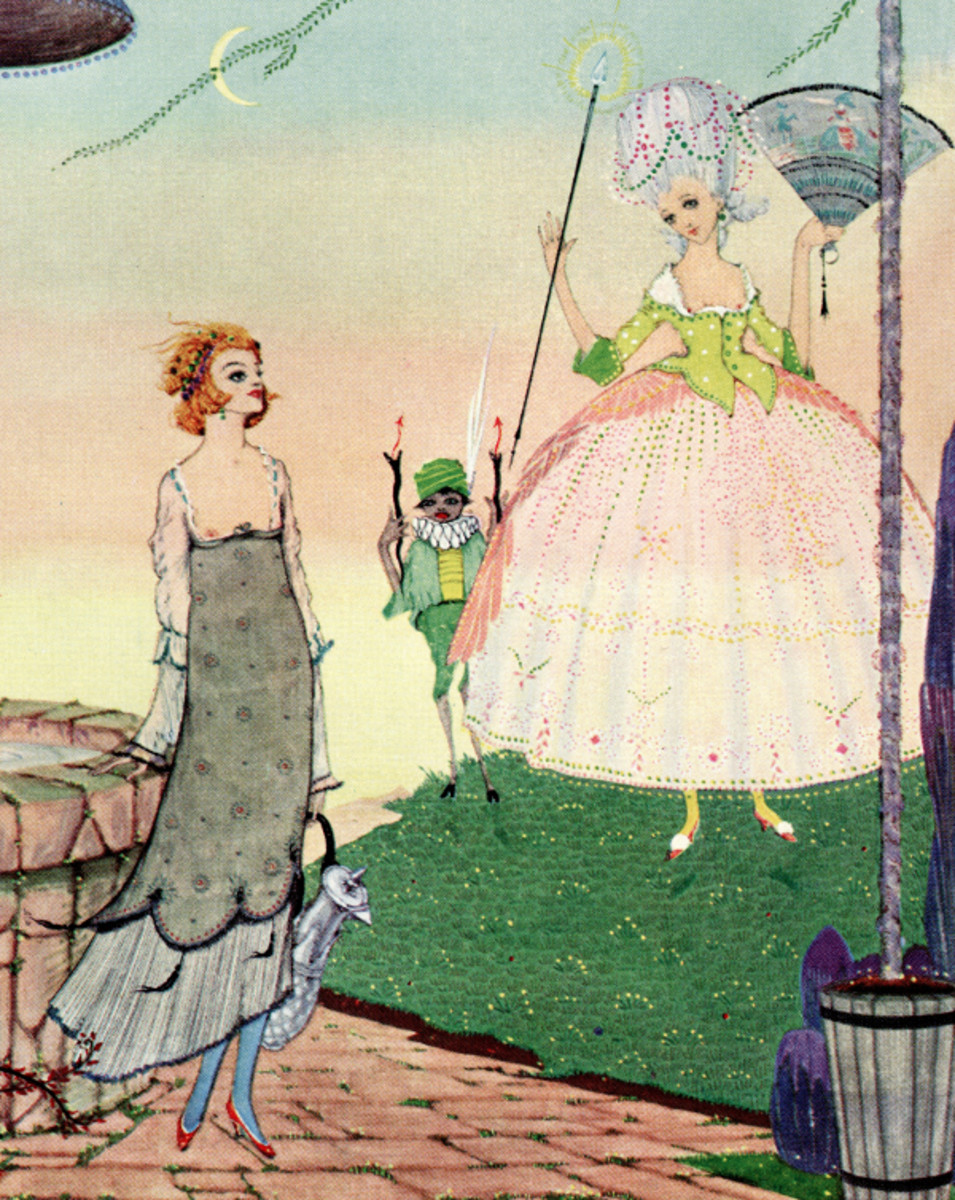 "Here we show a portion of 'Madam must get her own water' - it is from the suite of designs by Harry Clarke published in ""The Fairy Tales of Charles Perrault"" (1922)."