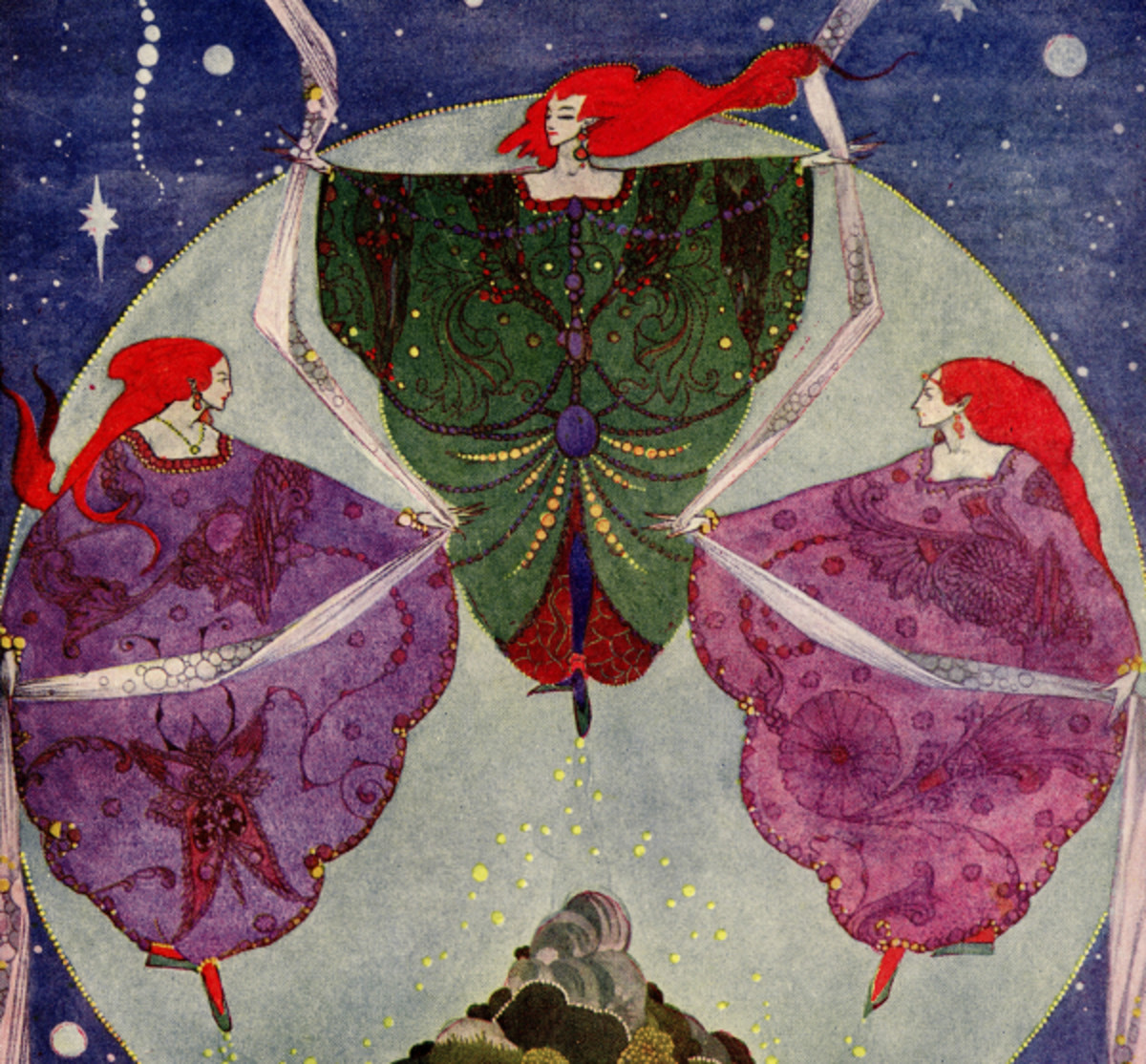 "Here we show a portion of 'They danced with shawls that were woven of mist and moonshine' - it is from Harry Clarke's suite published in ""Fairy Tales by Hans Christian Anderson"" (1916)."