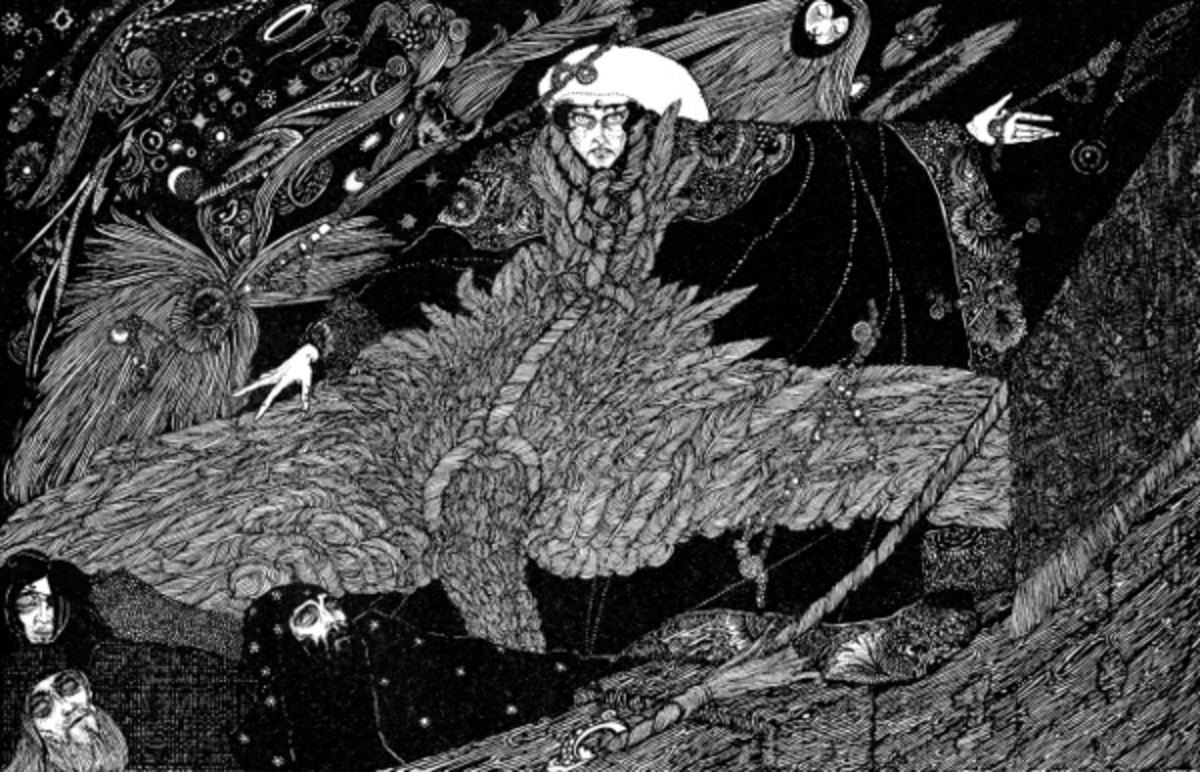"Here we show a portion of one of the surviving illustrations prepared by Harry Clarke that was inspired by Coleridge's ""Rime of the Ancient Mariner""."