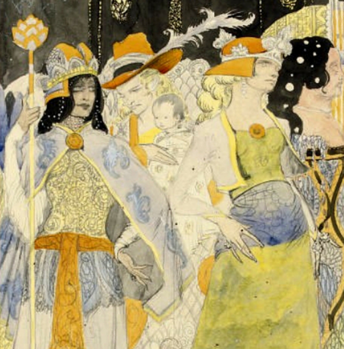 Here we show a portion of the preparatory illustration (known as a 'cartoon') by Harry Clarke associated with the Stained Glass panel shown above.