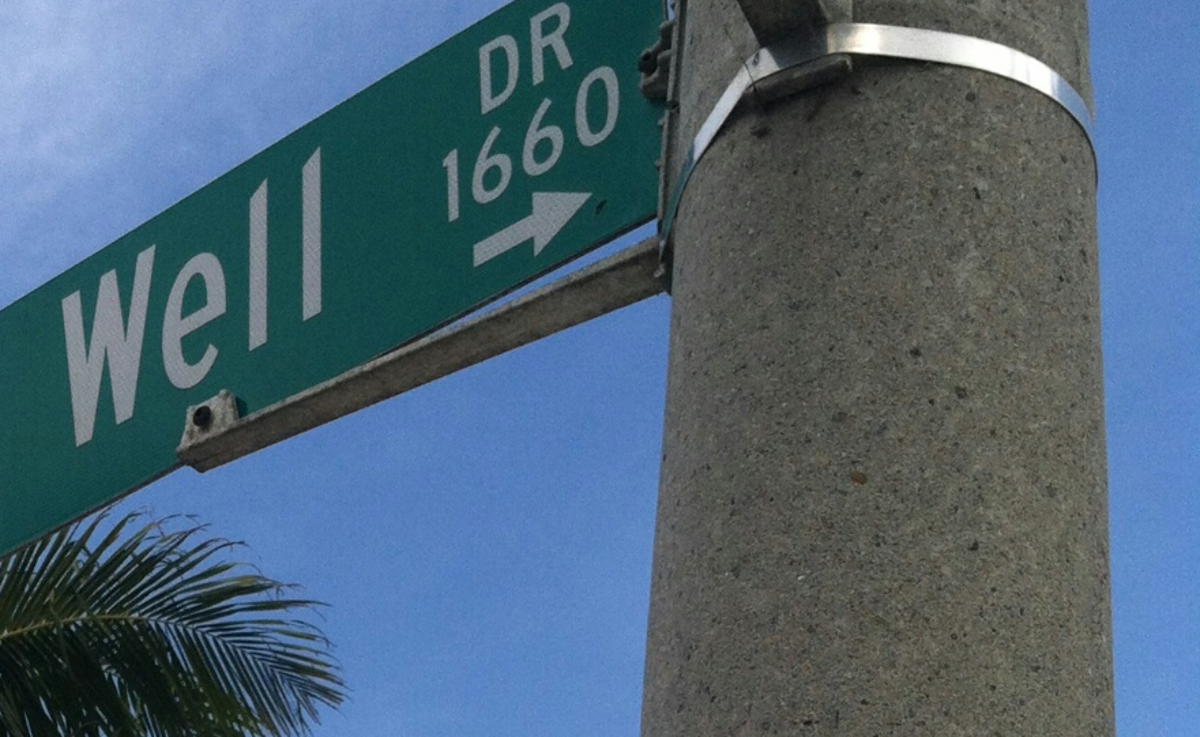 A pretty green street sign on a pretty little palm lined street can be your friend, if you will just take its advice.