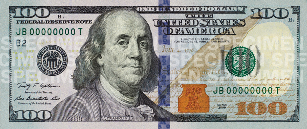 The new design for the $100 bill.