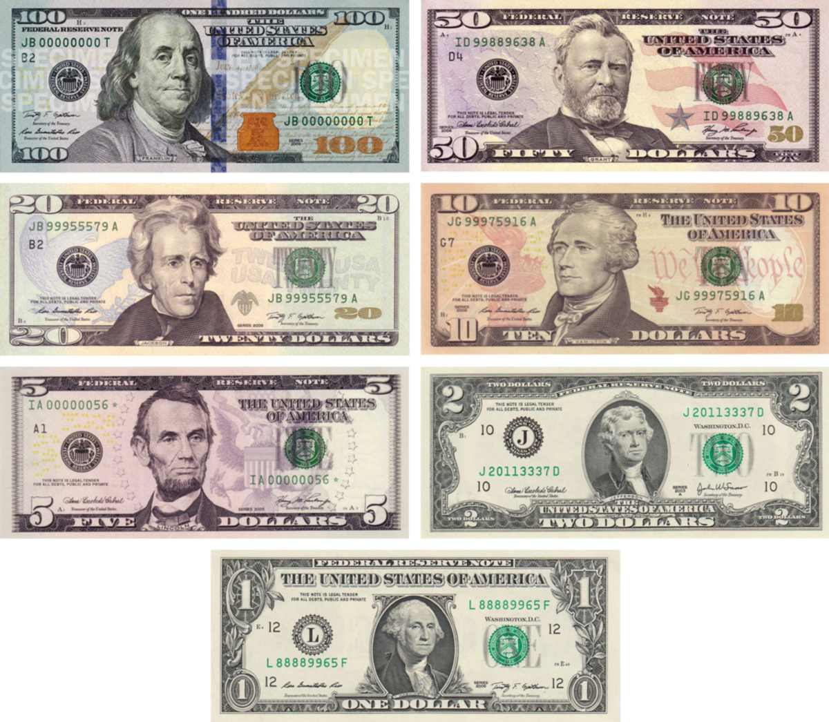 The current US notes have improved security features to prevent counterfeiting.
