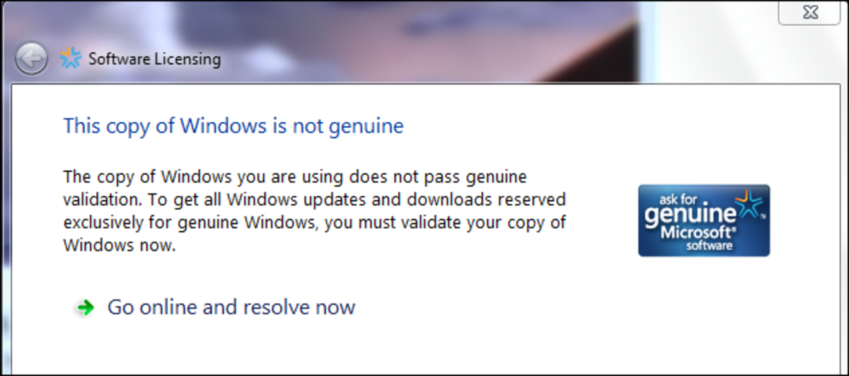 An example of Windows validation popup