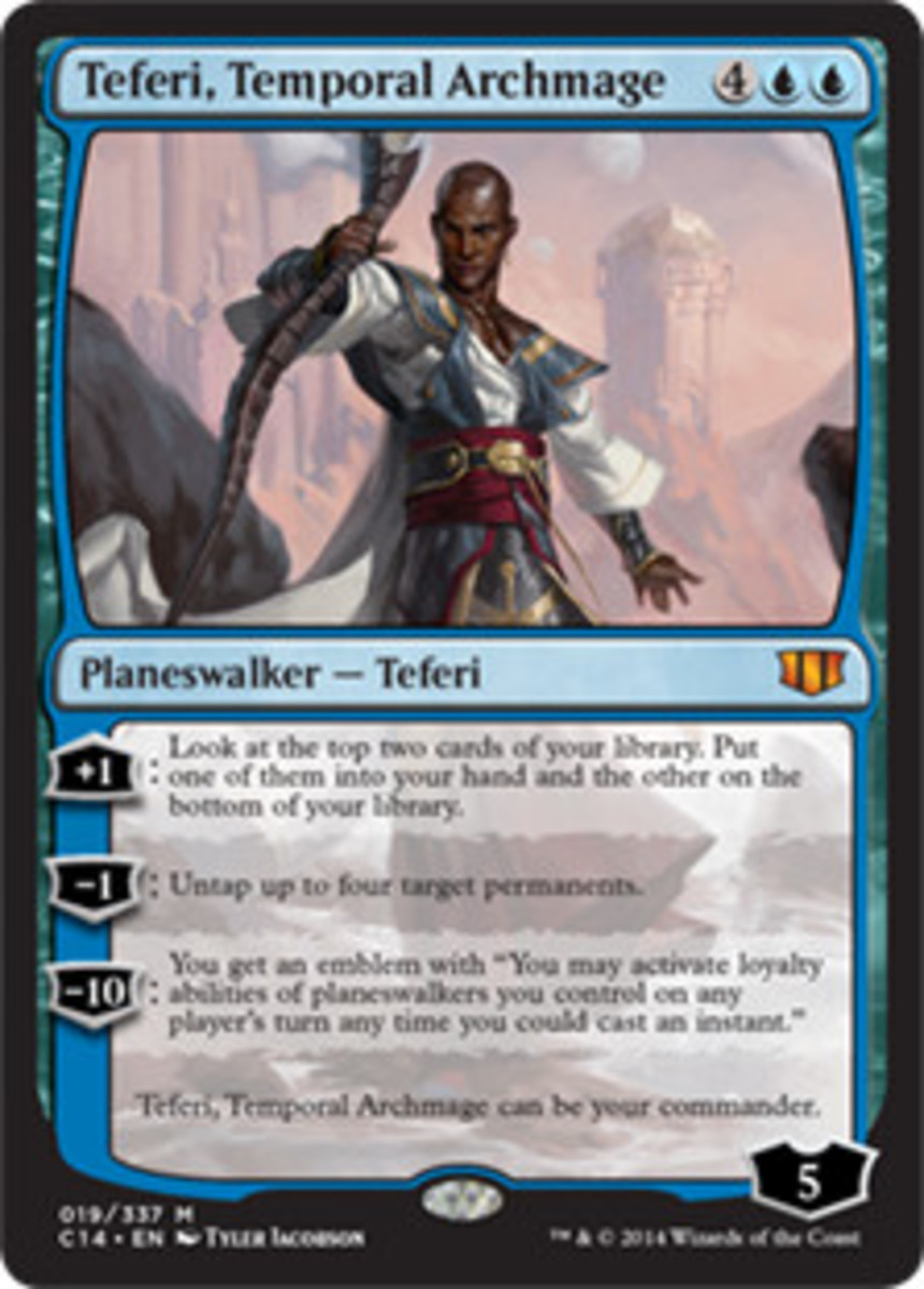 Teferi, Temporal Archmage is an example of a Planeswalker who can serve as Commander.