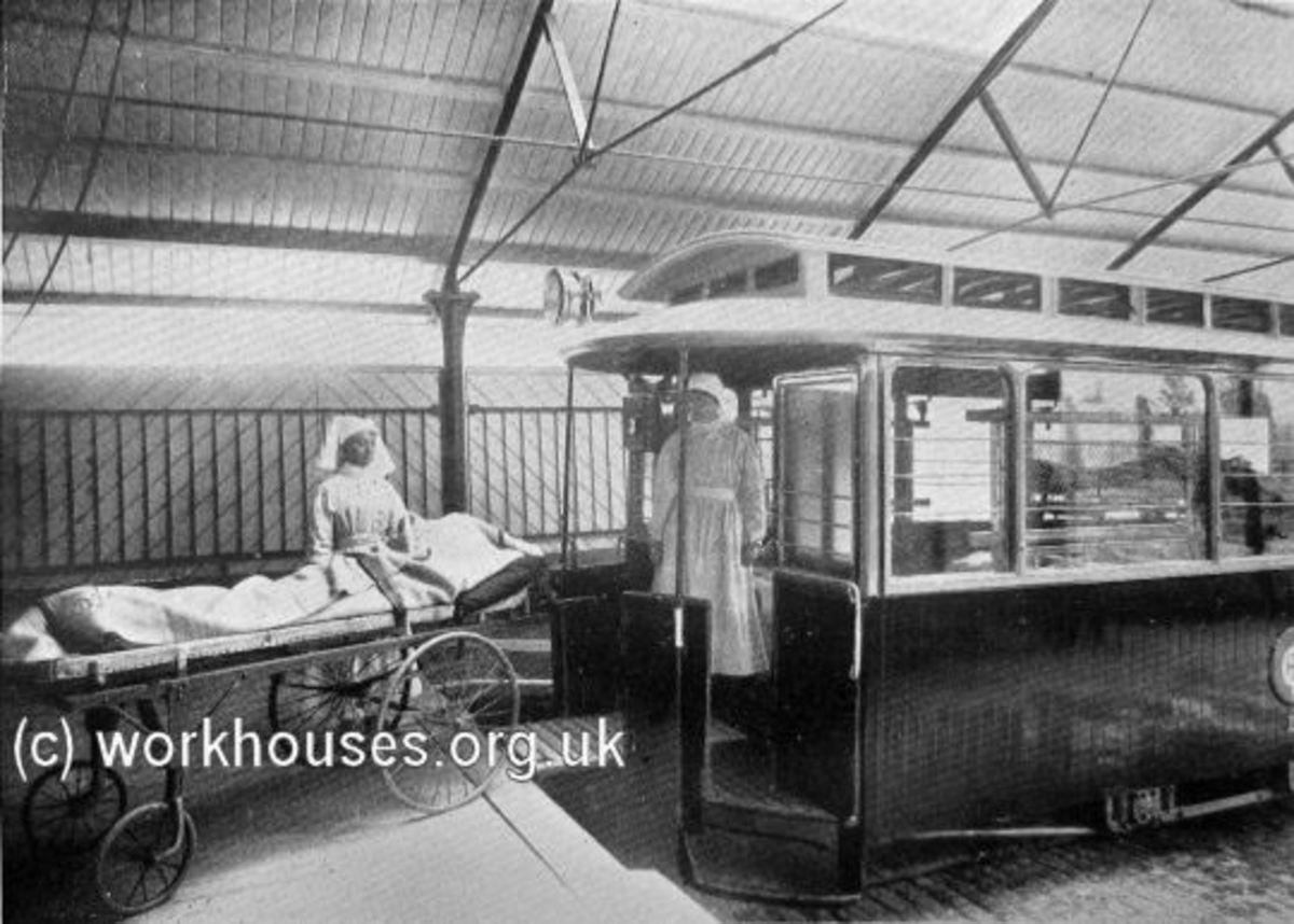 Loading a Joyce Green ambulance tram