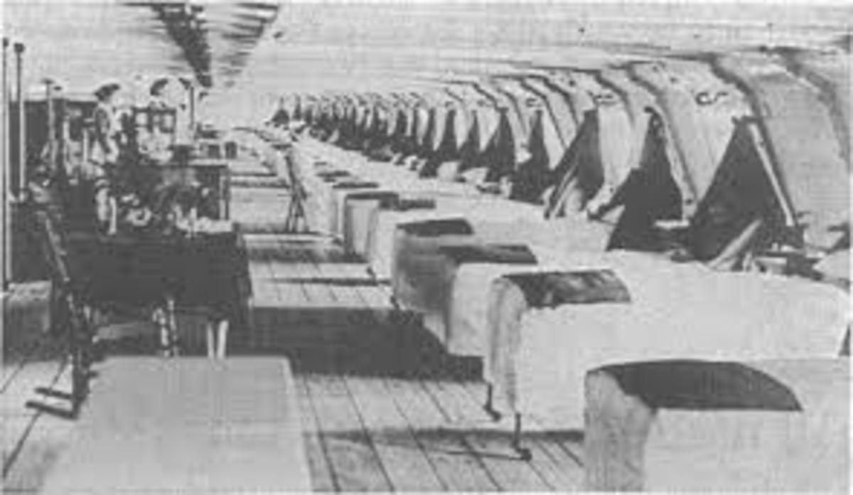 Ward on board Hospital ship