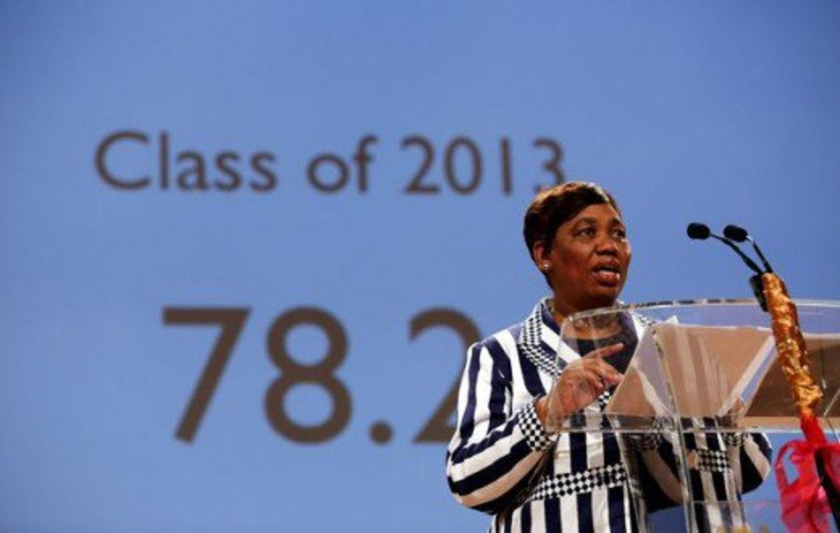 Basic Education Minister Angie Motshekga Releasing the 2013 NSC Matric Examination Results from the M1 Studios at the SABC in Auckland Park Johannesburg. Source: Moeletsi Mabe