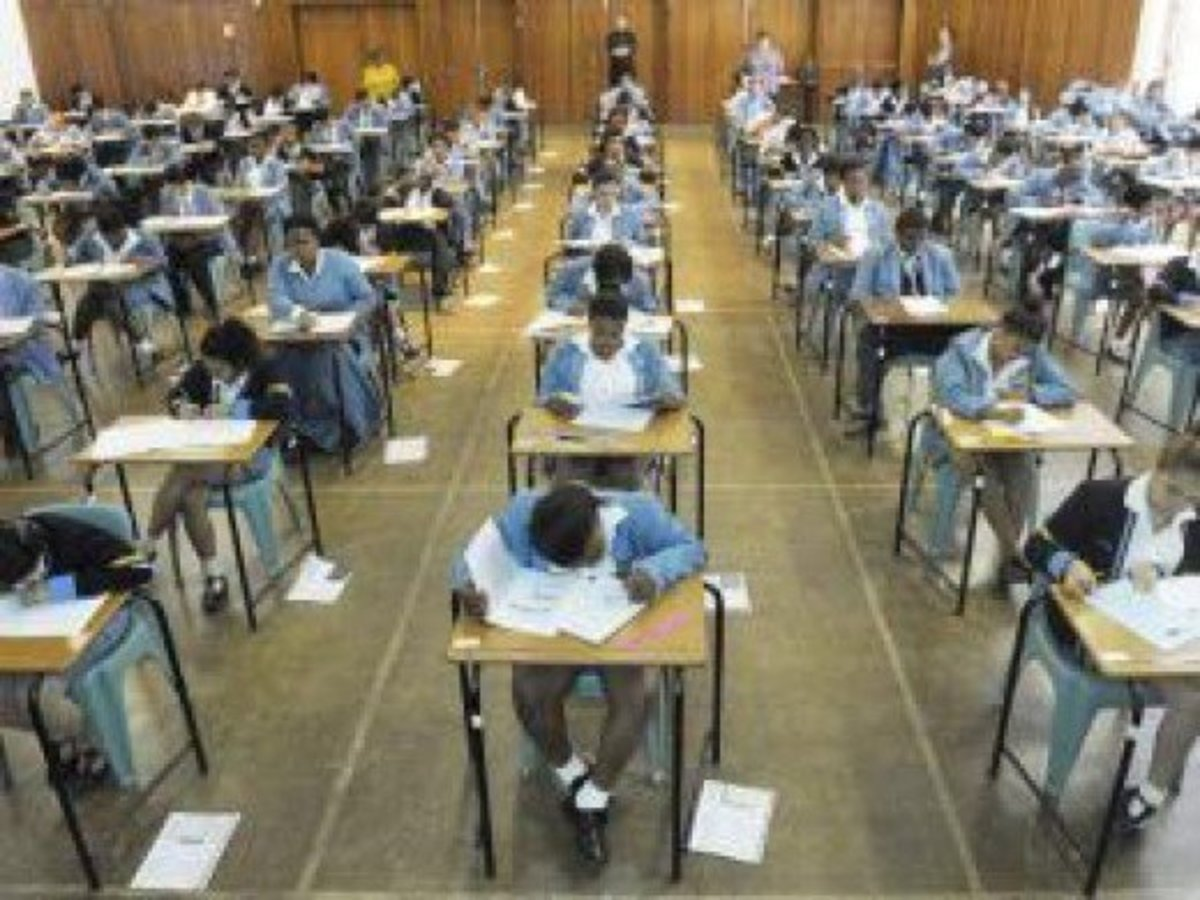 "Pupils write English paper 1 at Gardens Commercial High School in Cape Town. The writer does not believe that the steadily improving matric pass rate is an ""indication that the quality of education is improving"". Source: Courtney Africa"