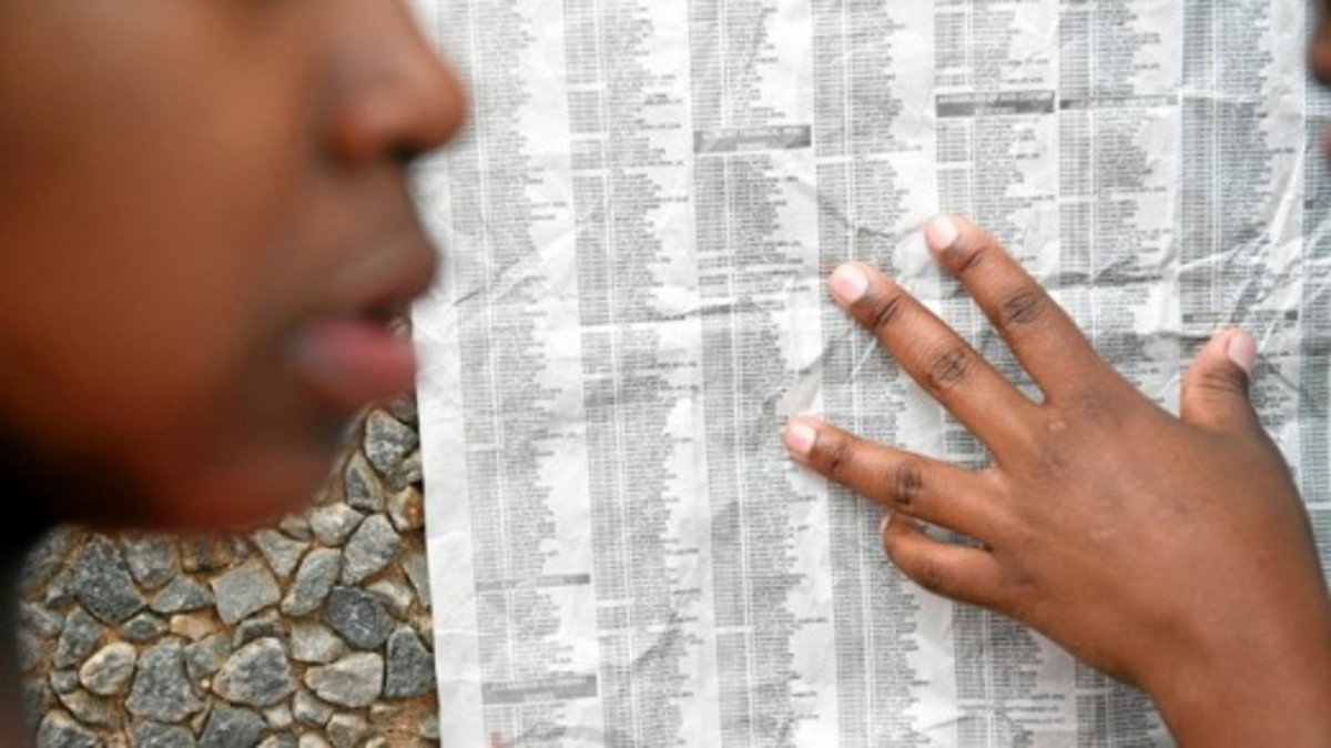 Looking for their names on the released Matric results in the Newspaper Source: M&G