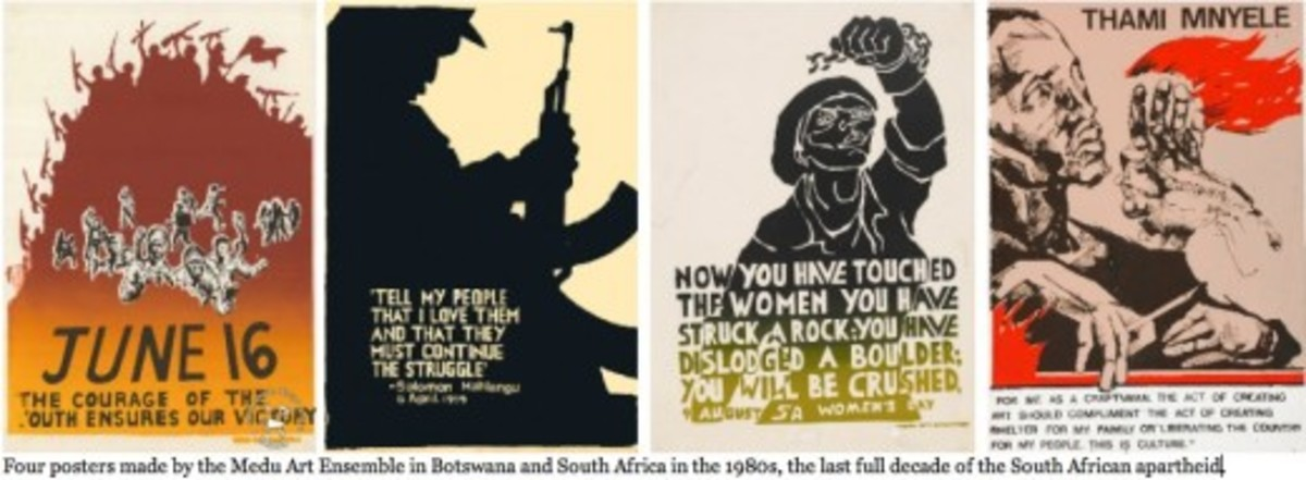 1985: South African army units went into Botswana and killed twelve artists of the Medu Art Ensemble, while destroying the homes of several others, to stop them from printing, smuggling and posting political posters in the cities and towns of South A