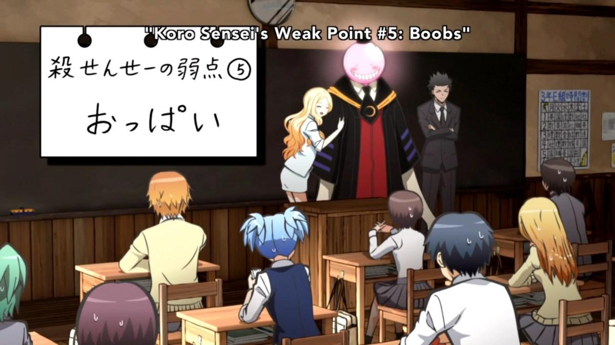 Korosensei's weakness for boobs.