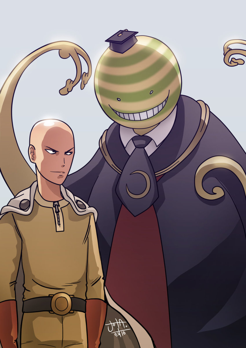 Korosensei and Saitama.