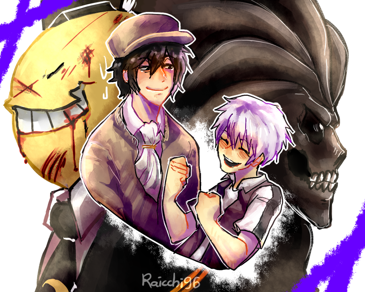 Korosensei and his apprentice Shinigami.