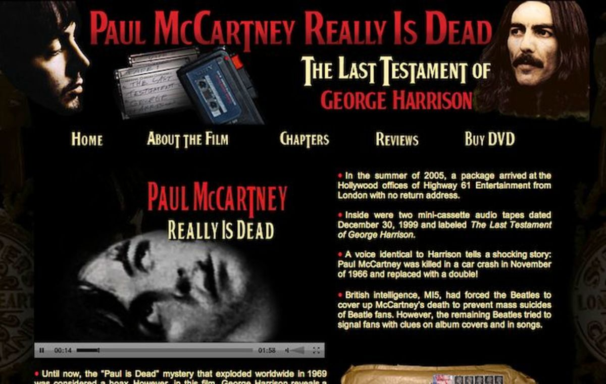 A website telling about Paul McCartney's five death hoax news