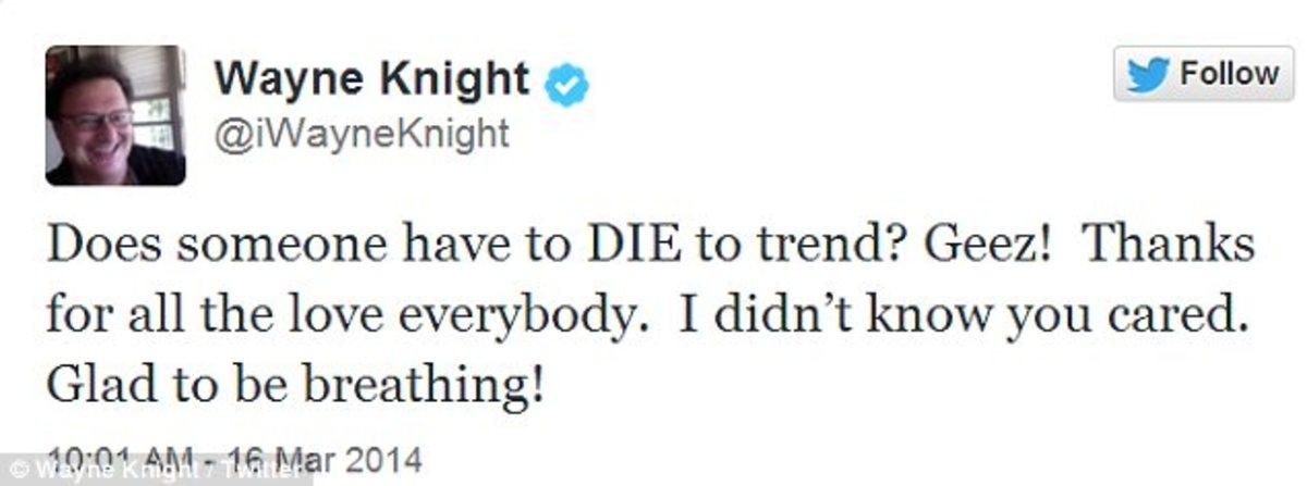 Wayne Knight's tweet against his fake death