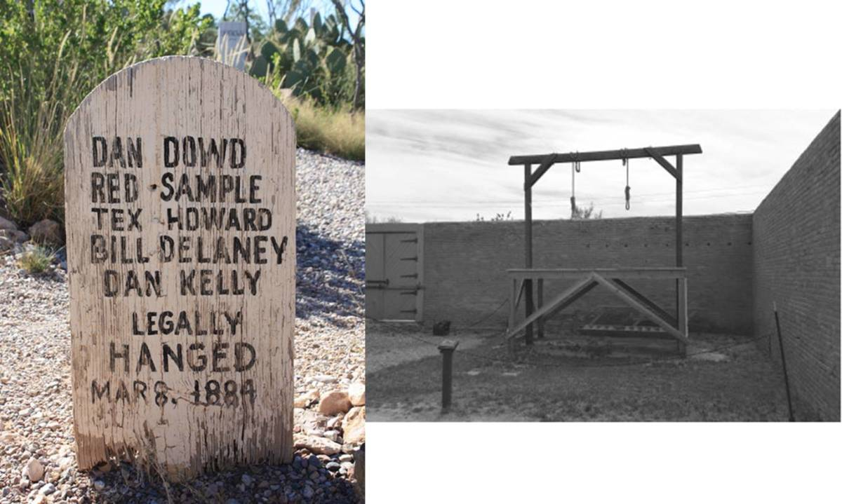 The most famous Wild West cemetery,  Boothill Graveyard in Tombstone, Arizona is known mainly for containing the remains of a few outlaws involved in the most famous Wild West shootout, the Gunfight at the O.K. Corral.