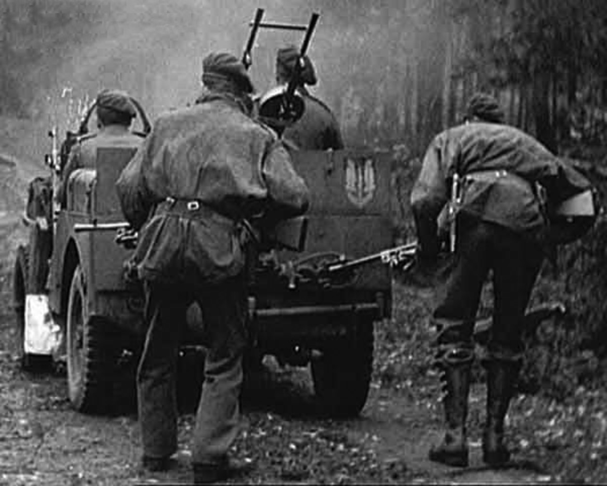SAS Armoured jeep patrol. Jeeps were dropped to enable the men to hit targets and be away again before the Germans knew what hit them