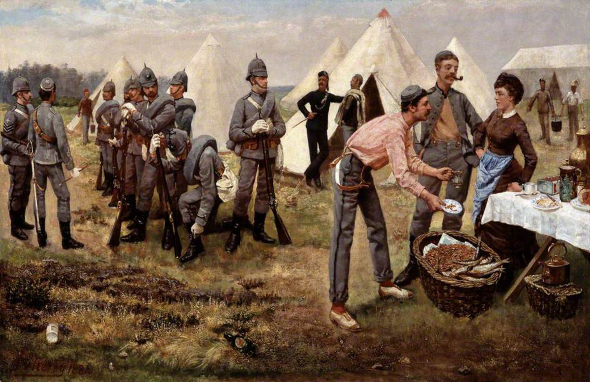 The Artists' Rifles in camp, 1884 - note the casual footwear of the gentleman in the foreground with the pinafored cook. These would never be soldiers in the conventional sense, not for lack of trying by the powers-that-be to lick them into shape
