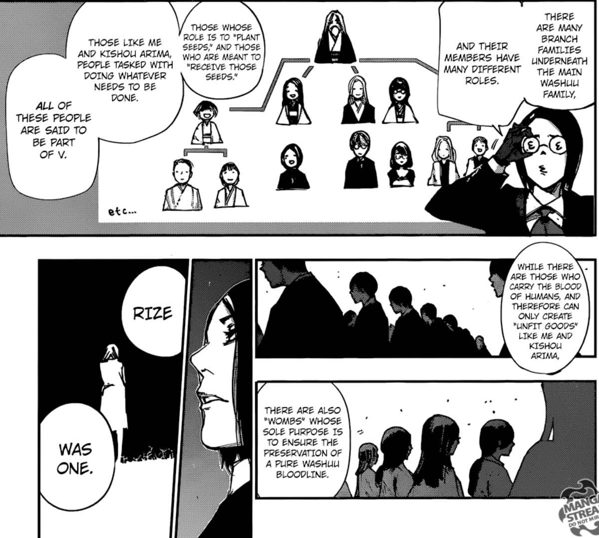 Furuta explaining the system behind the V/Washuu.