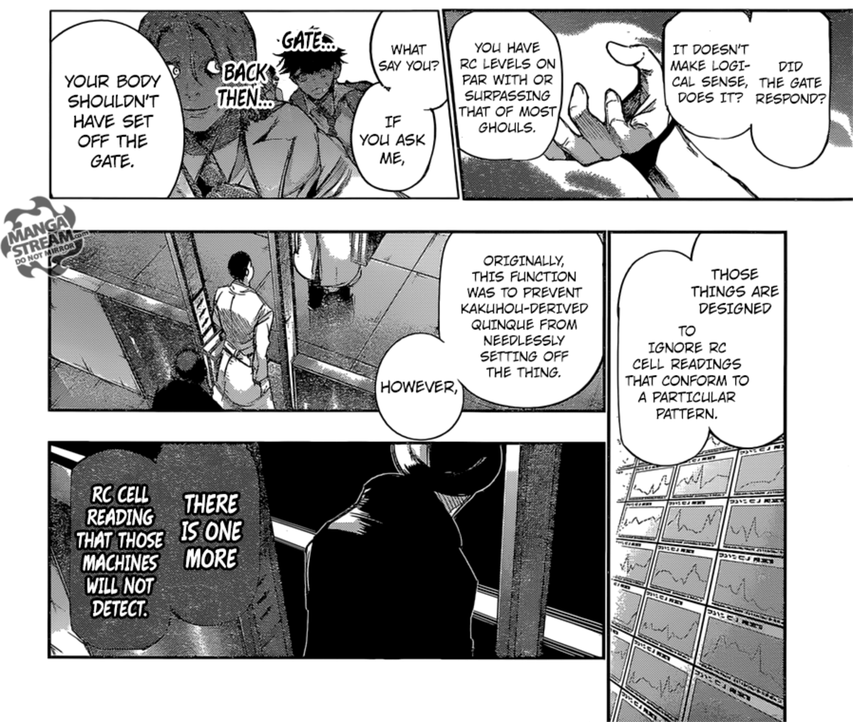 Eto explaining why the RC gate didn't detect Kaneki.