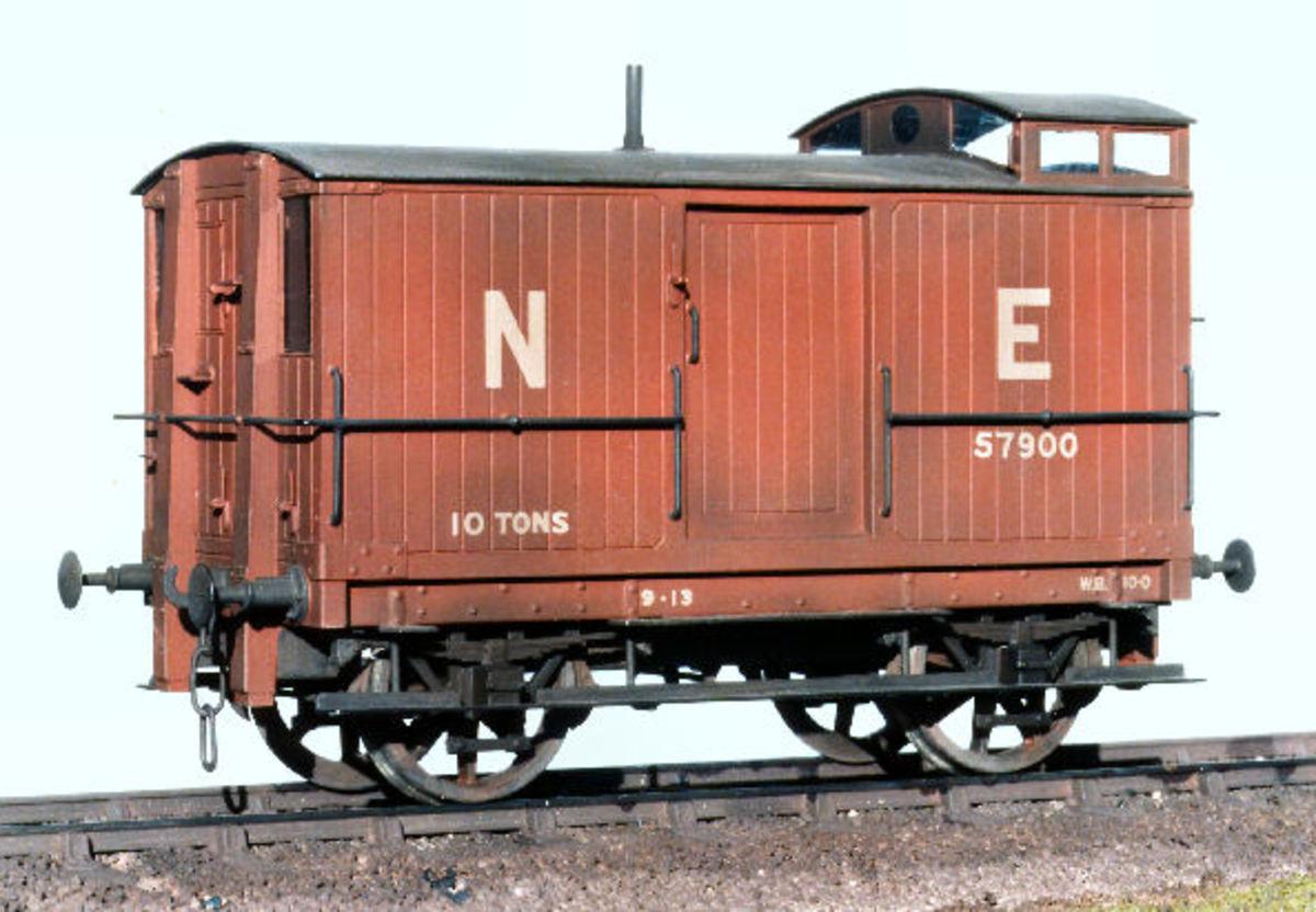 1/123/O Gauge model of NER Dgm V1 Birdcage Brake Van of 1890
