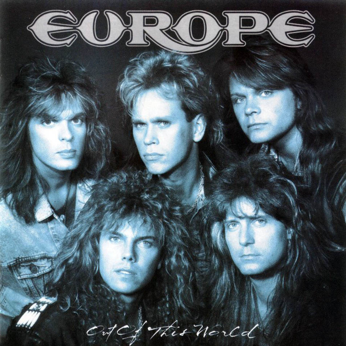 Vocalist Joey Tempest is pictured on the bottom row (first one) followed by Kee Marcello next to him.